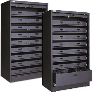 Nice Above Cabinet As Shown: (1)DDP #050 00765 Powered Cabinet C/w (9)DDP  #050 00747 Secure Laptop Drawers.